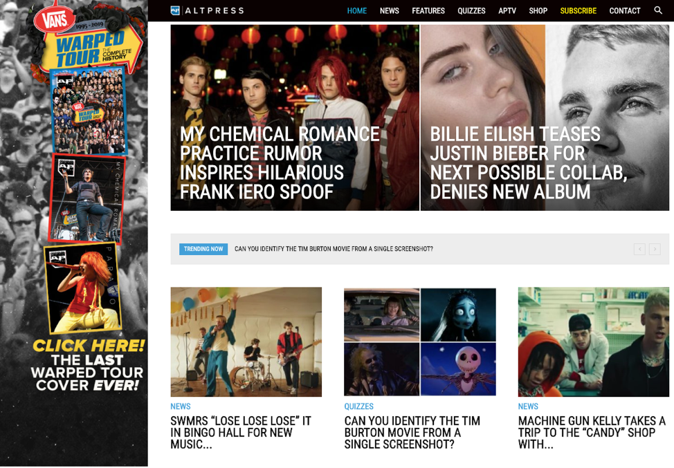 Alternative Press homepage