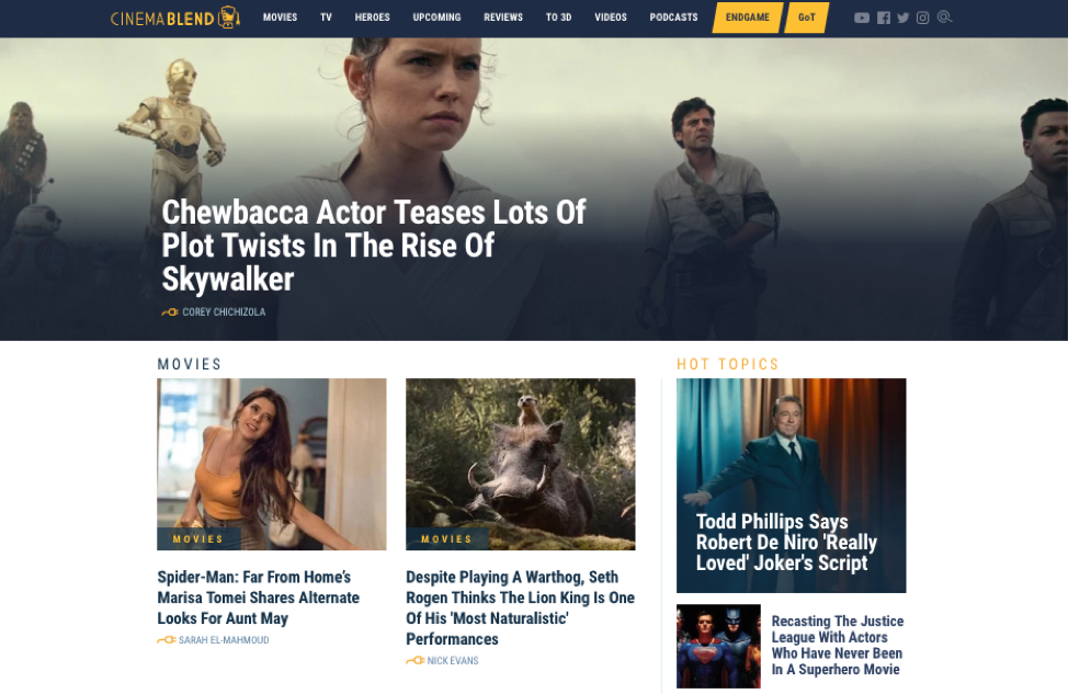 CinemaBlend homepage