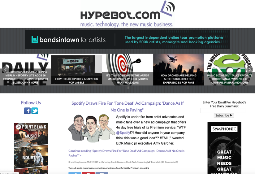 Hypebot homepage