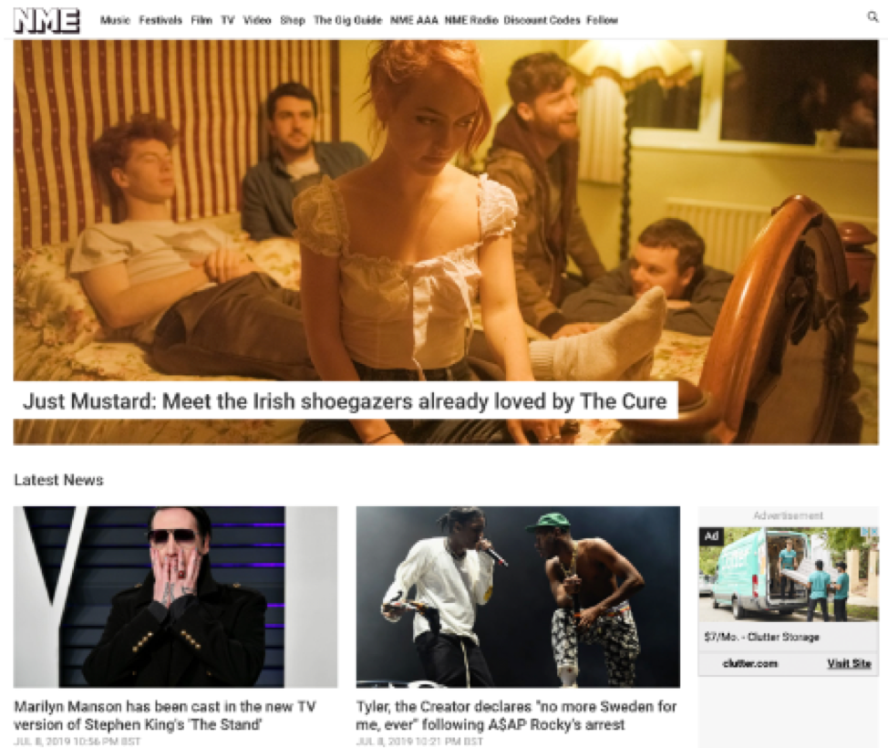 New Musical Express (NME) homepage