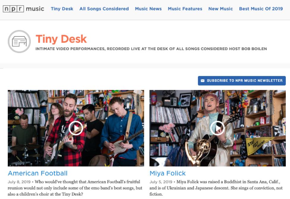 NPR Music homepage