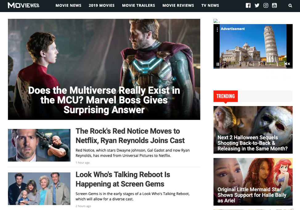 MovieWeb homepage